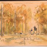 La ligne - Feutre et aquarelle