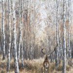 Le cerf et les bouleaux - Gouache - 60x40 - G2674