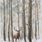 Cerf dans la neige - Aquarelle - 20x30 - A1698