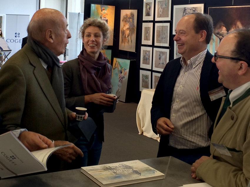 Exposition à Auteuil 2014. Monsieur le Président Giscard d'Estaing, Estelle Rebotarro, Arnaud Fréminet et Jean-Christophe Barbou des Places