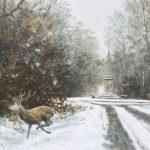 Le cerf à la Croix Vilpert - Gouache -20x30 - G1565
