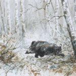 Sanglier dans la neige - Aquarelle - 20x30 - A2616