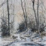 Loups en hiver - Aquarelle - 26x20 - A8143