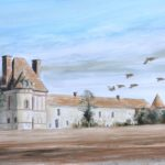 Perdreaux à Guignonville - Gouache - 32x63 - G0072