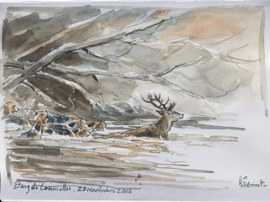 A l'Etang de Commelles - Aquarelle - C9126