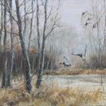 Pose de canards - Huile sur toile - 5F (27x35) - H4450