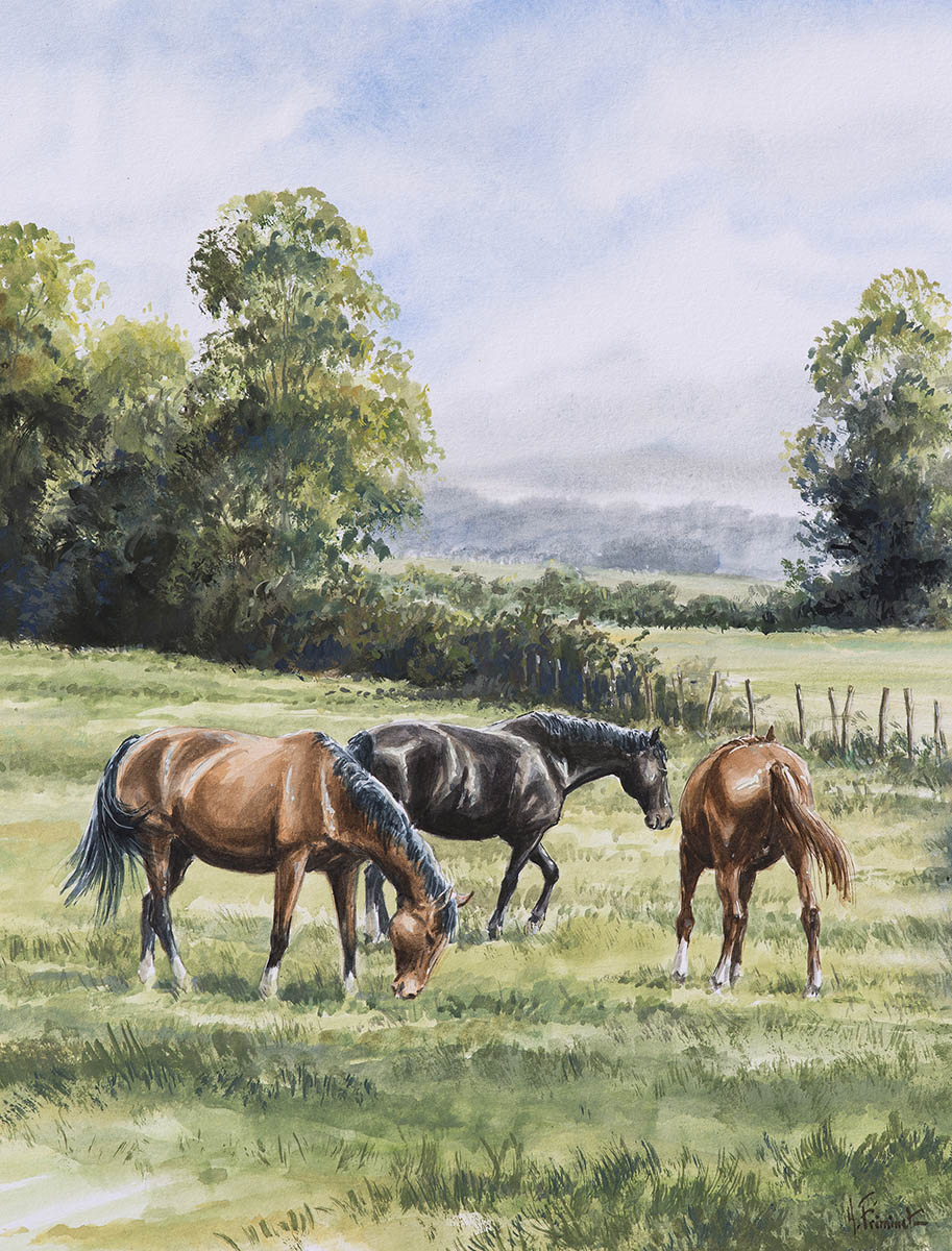 Trois chevaux - Aquarelle - 37x27 - A3937
