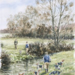E. Bleus et bruyères - Aquarelle - 30x20 - A4645 - vendu