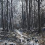 Cerf aux abois - Gouache - 37x27 - G4931 - 610€