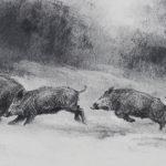 Sangliers dans la neige - Fusain - 15x42 - D9801