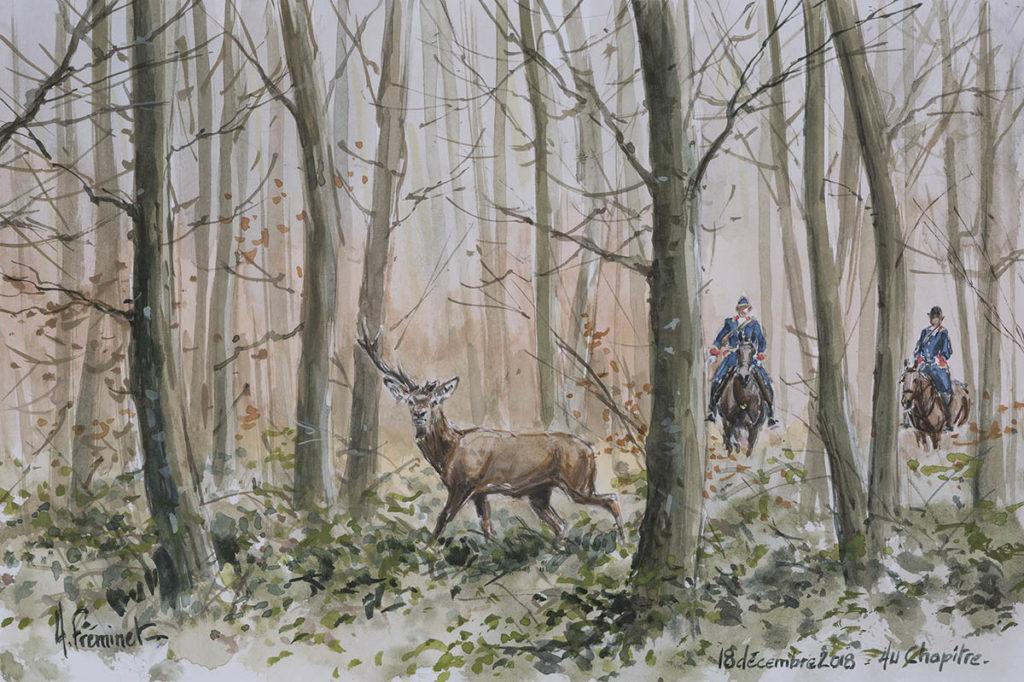 Trois Forêts - Aquarelle - 14,5x20,5 - C0019