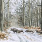Compagnie dans la neige - Aquarelle - 27x37 - A6044
