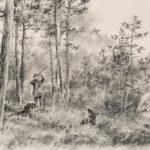 Lever de bécasses - Fusain -40x60 - D8637