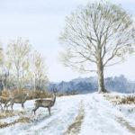 Chevreuils dans la neige - Gouache - 20x30 - G9473